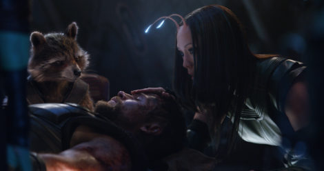 Marvel Studios' AVENGERS: INFINITY WAR..L to R: Rocket (Voiced by Bradley Cooper), Thor (Chris Hemsworth) and Mantis (Pom Klementieff)..Photo: Film Frame..©Marvel Studios 2018