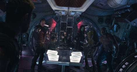 Marvel Studios' AVENGERS: INFINITY WAR..L to R: Star-Lord/Peter Quill (Chris Pratt), Rocket (voiced by Bradley Cooper), Mantis (Pom Klementieff), Gamora (Zoe Saldana), Groot (voiced by Vin Diesel) and Drax (Dave Bautista)..Photo: Film Frame..©Marvel Studios 2018